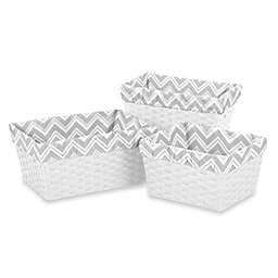 Sweet Jojo Designs Zig Zag Chevron Basket Liners in Grey