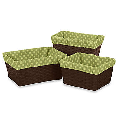 Sweet Jojo Designs Forest Friends Basket Liners in Green (Set of 3)