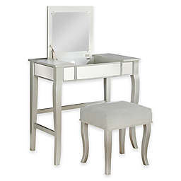 Linon Home Harper Vanity Set in Silver