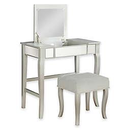 Linon Home Harper Vanity Set in Silver