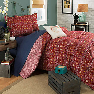 Brooklyn Flat Ceylon Reversible Duvet Cover in Red