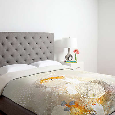 Deny Designs Iveta Abolina White Velvet Duvet Cover in Yellow