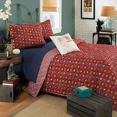 Brooklyn Flat Ceylon Reversible Quilt Set in Red