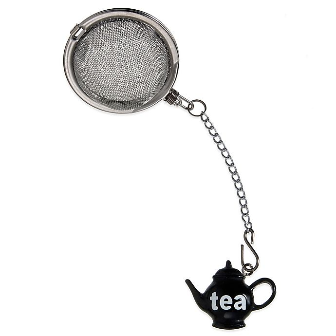 Alternate image 1 for Prodyne Stainless Steel Tea Infuser with Black Teapot Ornament