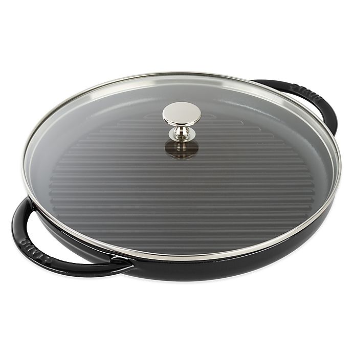 Alternate image 1 for Staub 12-Inch Cast Iron Steam Grill with Glass Lid in Black Matte