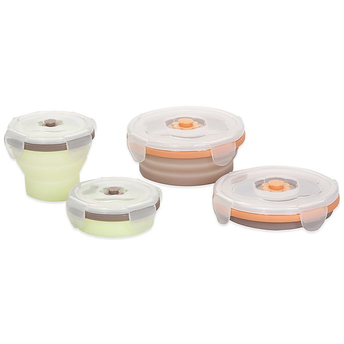 Alternate image 1 for babymoov® 4-Pack Silicone Containers in Green/Brown