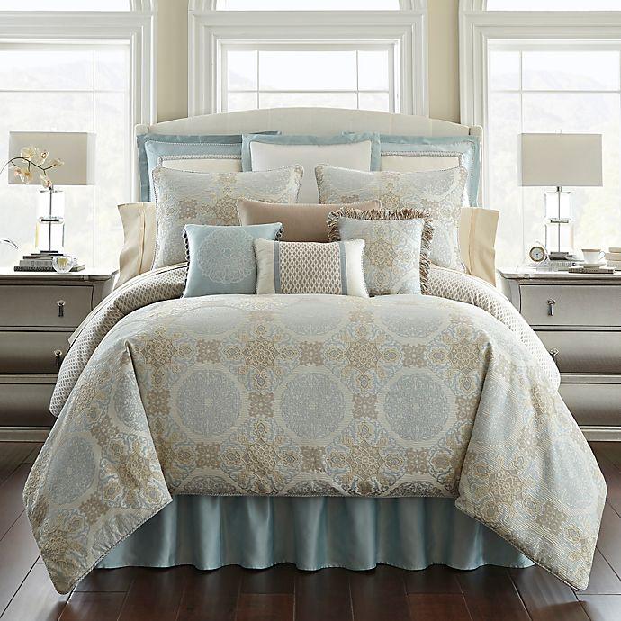 Alternate image 1 for Waterford® Linens Jonet Reversible Comforter Set in Cream/Blue