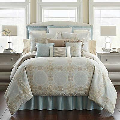 Waterford® Linens Jonet Reversible Comforter Set in Cream/Blue