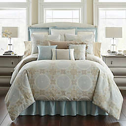 Waterford® Linens Jonet Reversible Comforter Set in Cream/Blue