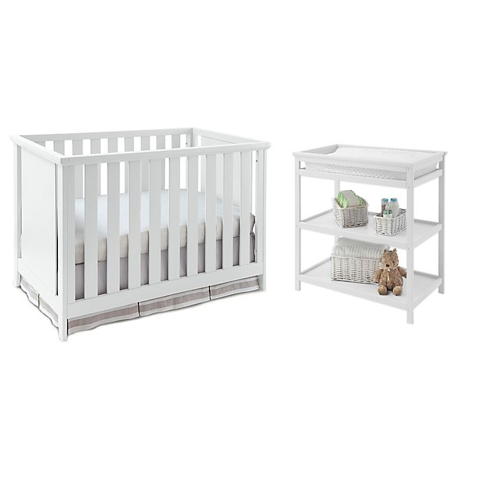 Alternate image 1 for Imagio Baby by Westwood Design Casey 3-in-1 Convertible Crib and Changing Table Set in White