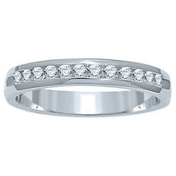 14K White Gold Channel-Set Diamond Ladies' Wedding Band Collection
