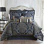 Waterford® Linens Vaughn Reversible Queen Comforter Set in Navy/Gold