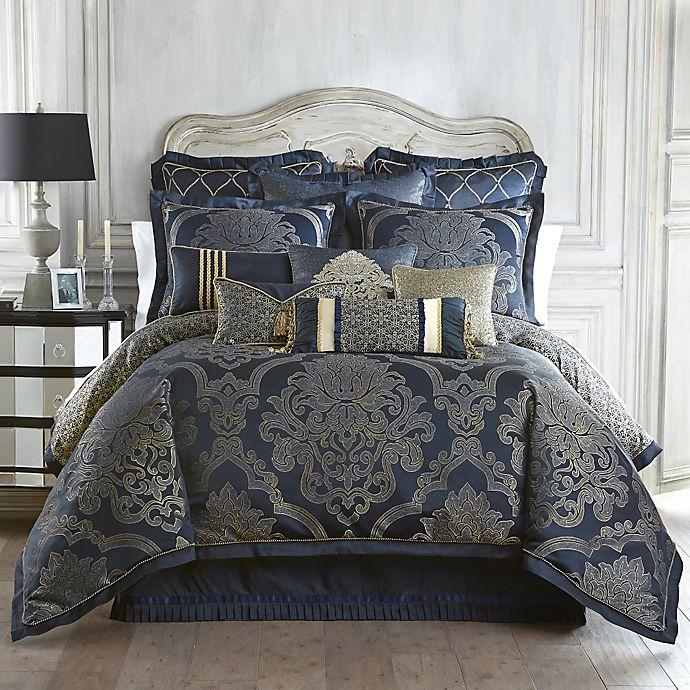 Alternate image 1 for Waterford® Linens Vaughn Reversible Comforter Set in Navy/Gold