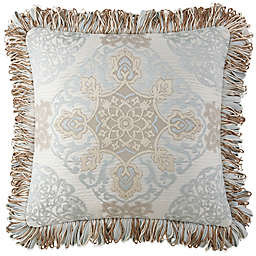 Waterford® Jonet Fringed Square Throw Pillow in Cream/Blue