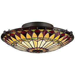 Quoizel® West End Tiffany 2-Light Flush-Mount Ceiling Fixture in Vintage Bronze