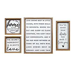 Prinz 4-Piece Typography Gallery Plaque Wall Art Set in Natural