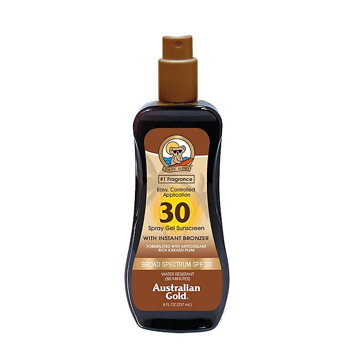 Alternate image 1 for Australian Gold® 8 oz. Spray Gel Sunscreen with Instant Bronzer SPF 30