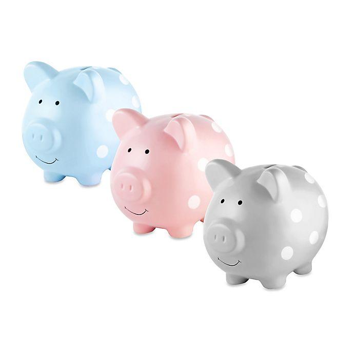 Alternate image 1 for Pearhead Medium Ceramic Polka Dot Piggy Bank