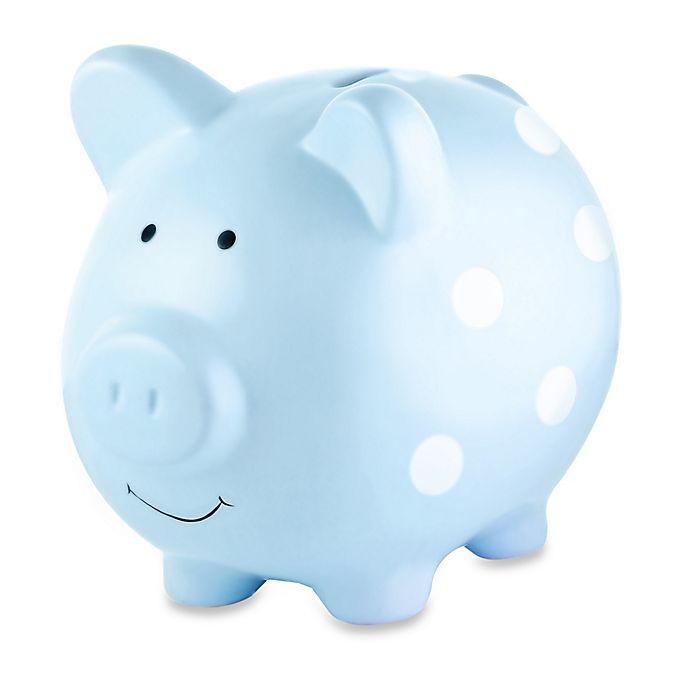 Alternate image 1 for Pearhead Medium Ceramic Polka Dot Piggy Bank in Blue/White