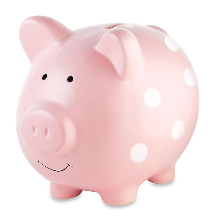 Alternate image 1 for Pearhead Medium Ceramic Polka Dot Piggy Bank in Pink/White