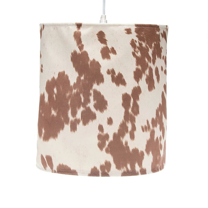 Alternate image 1 for Glenna Jean Happy Trails Hanging Cow Print Drum Shade Kit in Brown/Cream