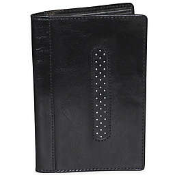 Dopp Alpha RFID-Blocking Leather Passport Jacket in Black