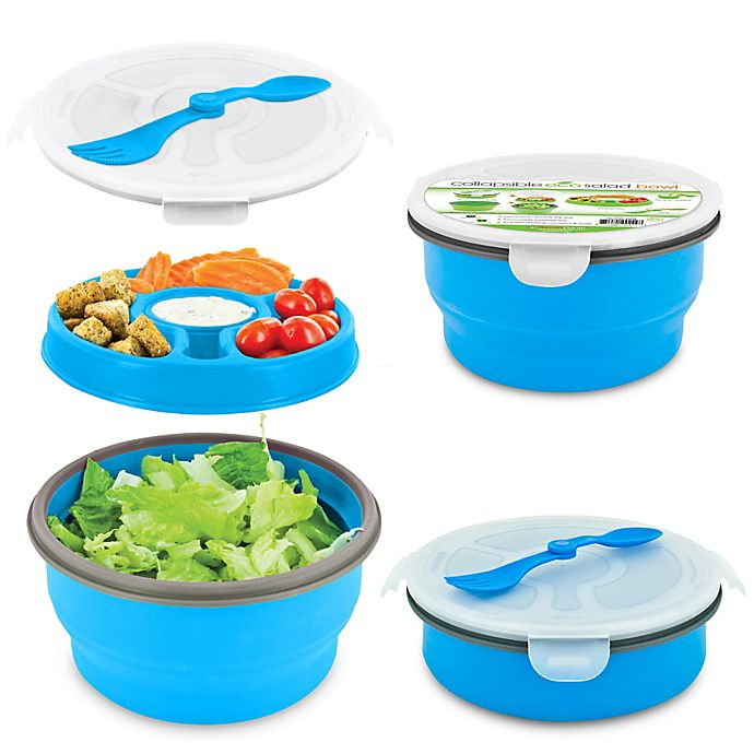 Alternate image 1 for SmartPlanet Eco Collapsible Salad Bowl Deluxe Meal Kit in Blue