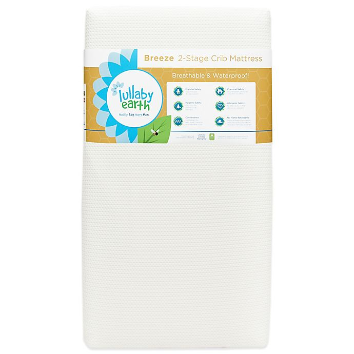 Alternate image 1 for Lullaby Earth® Breeze™ Breathable 2-Stage Crib Mattress in White
