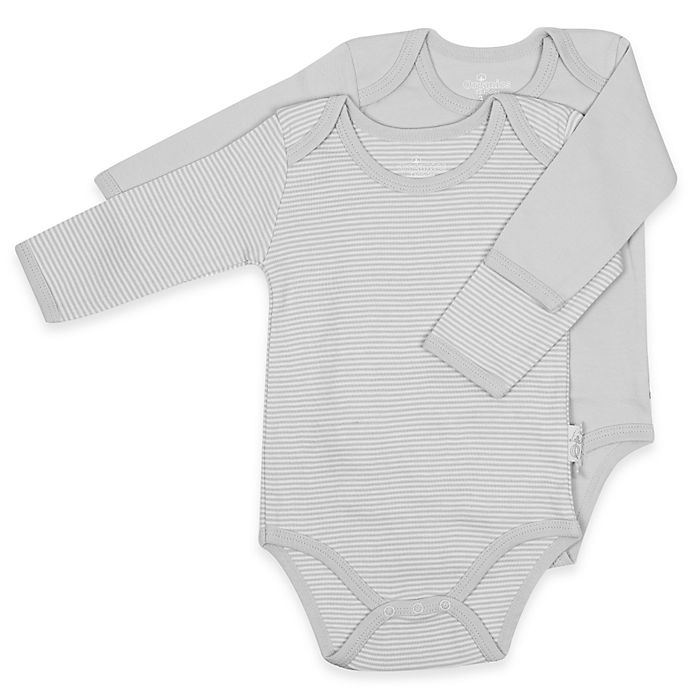 Alternate image 1 for Tadpoles™ by Sleeping Partners 2-Pack Organic Cotton Bodysuits in Grey