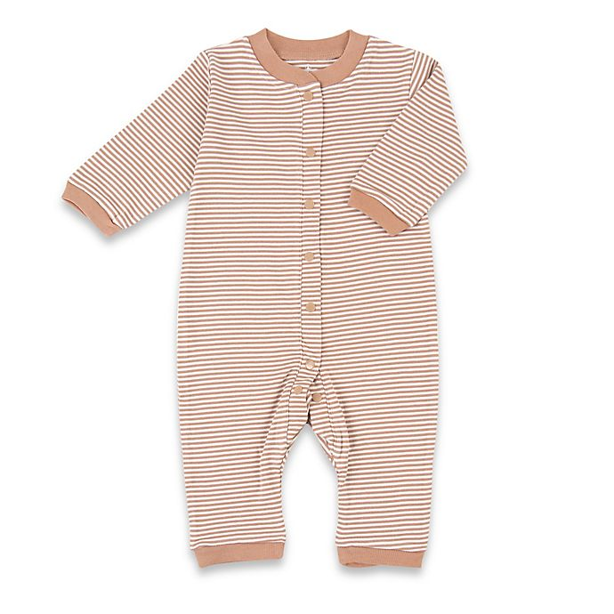 Alternate image 1 for Tadpoles™ by Sleeping Partners Size 3-6M Organic Cotton Footless Snap-Front Romper in Cocoa