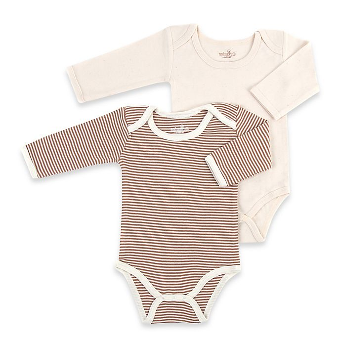Alternate image 1 for Tadpoles™ by Sleeping Partners Size 6-9M 2-Pack Organic Cotton Bodysuits in Cocoa