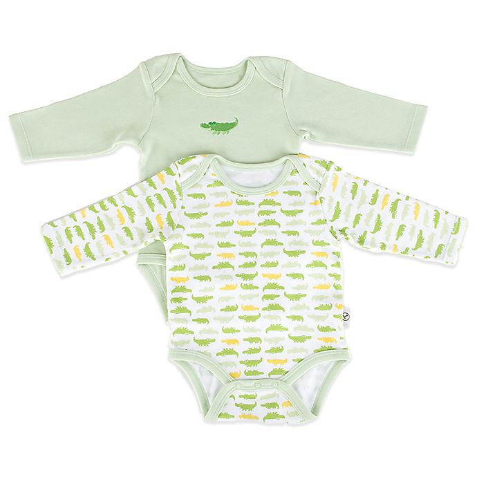 Alternate image 1 for Tadpoles™ by Sleeping Partners Mod Zoo 2-Pack Long Sleeve Bodysuit in Green Gator