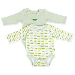 Tadpoles™ by Sleeping Partners Mod Zoo 2-Pack Long Sleeve Bodysuit in Green Gator