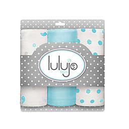Lulujo Baby Mini Muslin 3-Pack Blanket Set in Blue/White