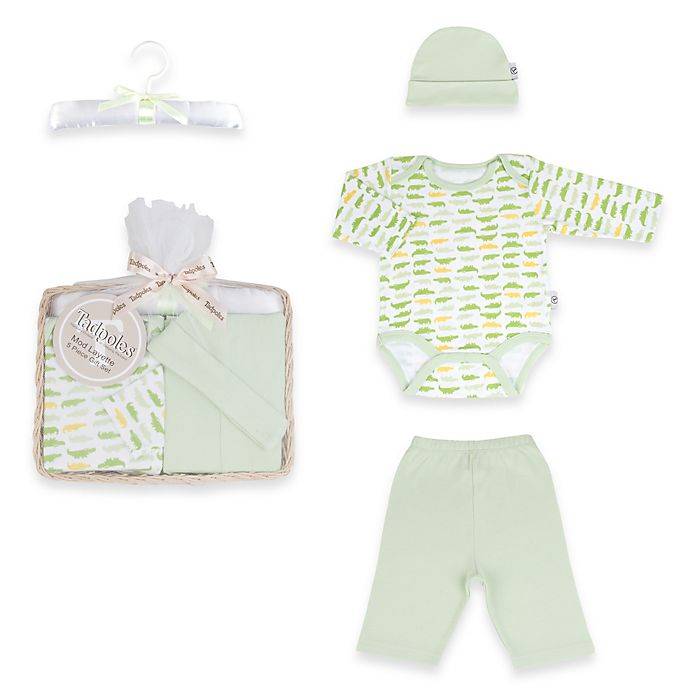 Alternate image 1 for Tadpoles™ by Sleeping Partners Mod Zoo Size 0-6M 5-Piece Gift Set in Green Gator