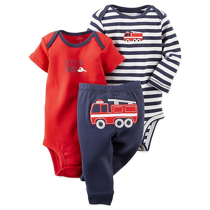 Alternate image 1 for Carter's® Preemie 3-Piece Firetruck Bodysuit and Pant Set in Navy/Red