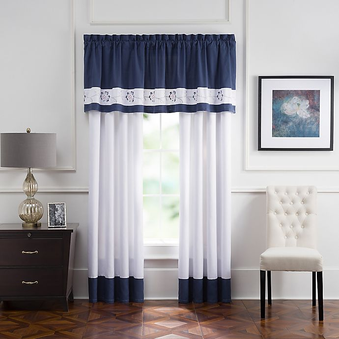 Alternate image 1 for Aloura Embroidered Rod Pocket 84-Inch Window Curtain Panel Pair in White/Blue
