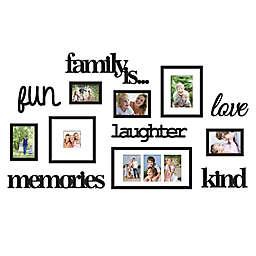 "WallVerbs™ 13-Piece ""Family Is"" Photo Frame Set in Satin Black"