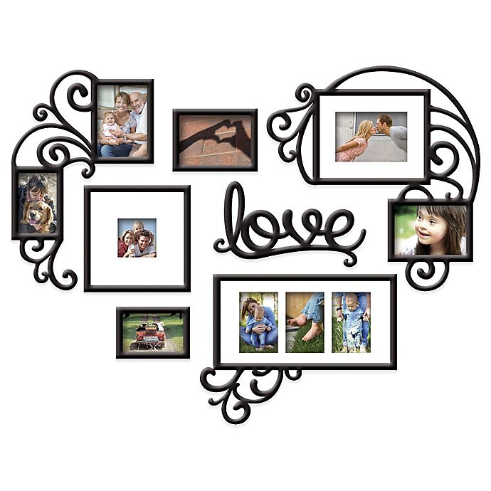 Wallverbs 7 Piece Love Photo Frame Set In Satin Black Bed Bath