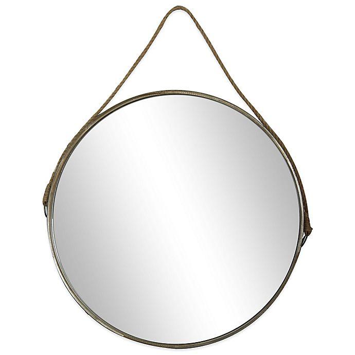 26 Inch Round Mirror In Brown