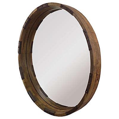 Ren-Will 30-Inch x 30-Inch Round Industria Mirror in Natural/Black