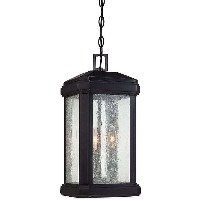 Alternate image 1 for Quoizel Trumbull Ceiling-Mount Outdoor Large Hanging Lantern in Mystic Black