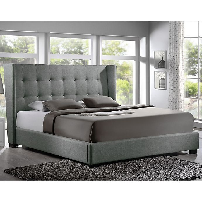 Alternate image 1 for Baxton Studio Favela Queen Linen Platform Bed with Headboard in Grey