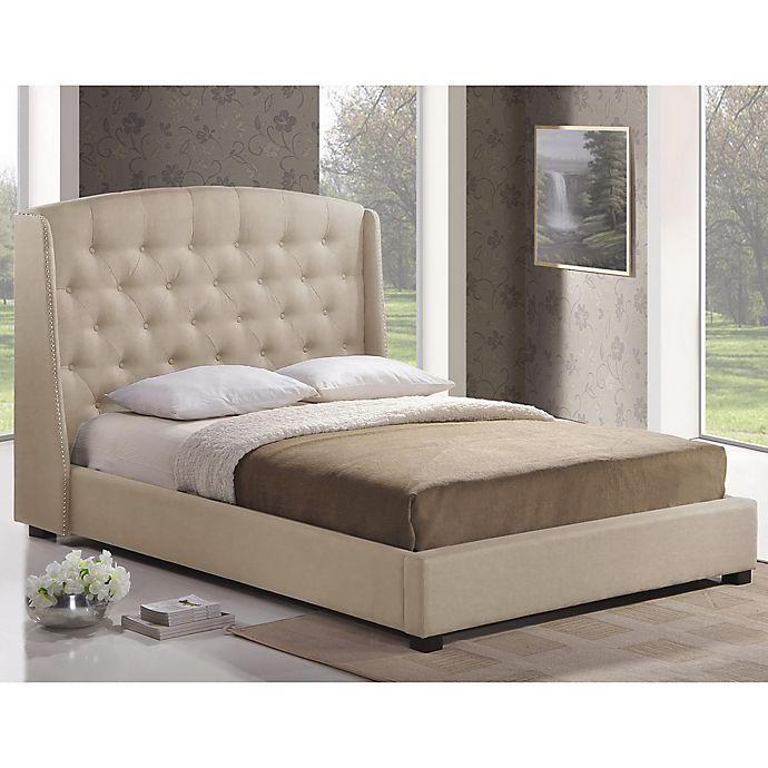Baxton Studio Ipswich Linen Platform Bed With Headboard In