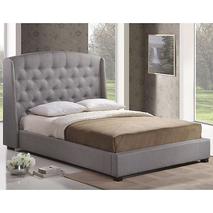 Baxton Studio Ipswich Linen Platform Bed With Headboard