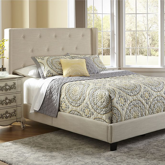 027ffeec5a Pulaski All-N-One Fully Upholstered Queen Shelter Bed in Stone | Bed ...