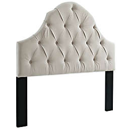 Pulaski Tufted Upholstered Headboard with Round Top in Off White