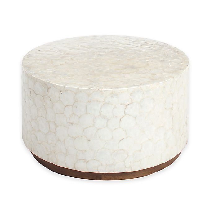 Round White Capiz Coffee Table: Jeffan International Capiz Round Coffee Table