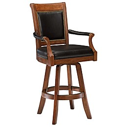 Hillsdale Kingston Game Swivel Leather Back Bar Stool in Cherry