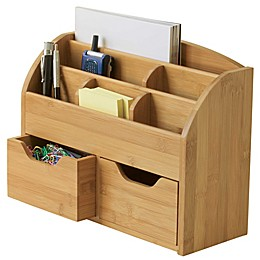 Lipper Space Saving Bamboo Desk Organizer